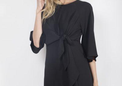 Black Tie-Frnt Dress Front